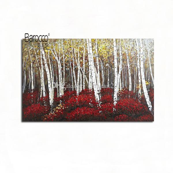 100% Hand Painted Wood Landscape Abstract Oil Painting on Canvas Modern Home Wall Decoration No Framed