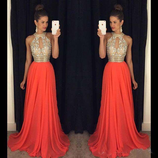 Prom Dresses 2016 High Neck Abendkleider Günstige Brautjungfernkleider Orange Lange Kleider Abendgarderobe Hochzeit Abendkleider Sexy Ballkleider