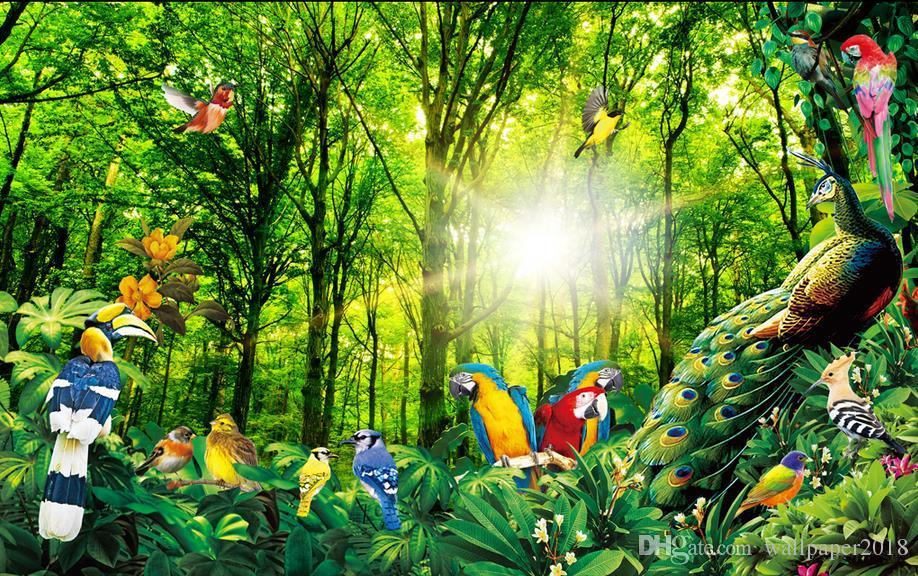 Sun Forest Fantasy Natural Bird Figure Parrot Tv Background Wall