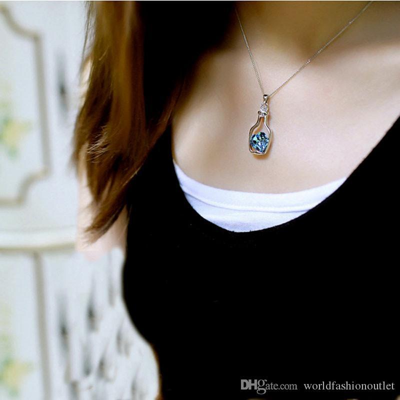 Горячие Кулон Ожерелья Творческий Женщины Мода Дамы Популярный Стиль Любовь Бутылки Drift Кристалл Ожерелье Любовь Сердце Кристаллическая Фляга