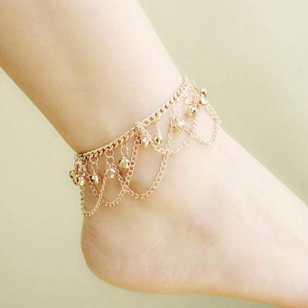 Fashion Women Hot Multi Chain Bells Tassel Anklet Ankle Bracelet Foot Jewelry Barefoot Beach Anklets Wholesale 12 Pcs