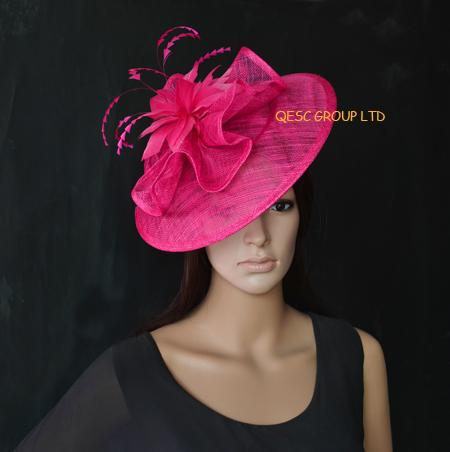 Hot Pink Big Sinamay Fascinator Hat For Kentucky Derby Wedding Races ... 042f19c1fd3