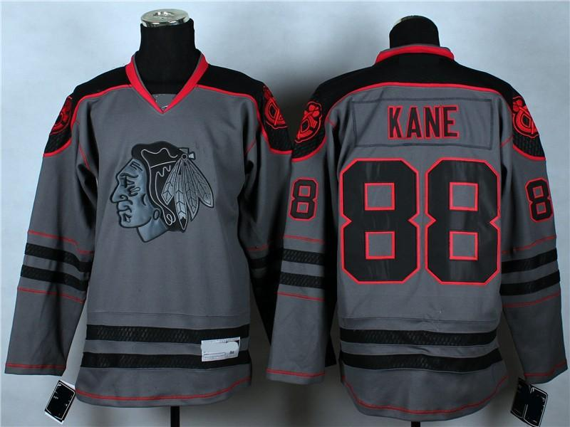 35ac1fee4 ... Jersey 2015 Reebok NHL Chicago Blackhawks 88 Patrick Kane Cross Check  Premier Charcoal Fashion . Blackhawks Patrick Kane Black Reebok Premier  Skull ...