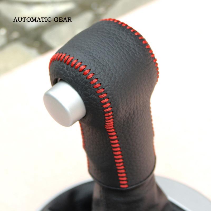 Para SKODA Fabia automatc tampa da engrenagem de Costura À Mão estilo do carro tampa da engrenagem de couro genuíno DIY Auto decoração de interiores acessórios do carro