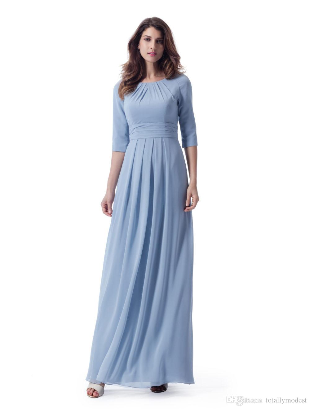 Pastal Blue Long Modest Bridesmaid Dresses With 34 Sleeves Ruched Chiffon Ankle Length Formal Wedding Party Dresses LDS Maids Of Honor Dress