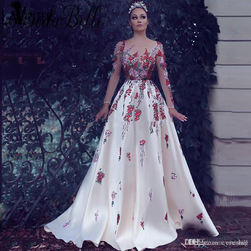 Jane Vini Weiß Arabisch Frauen Abendkleider Mit Exquisite Stickerei 2018 Sheer Long Sleeves Formelle Gelegenheit Kleider Dubai Robes Galajurk