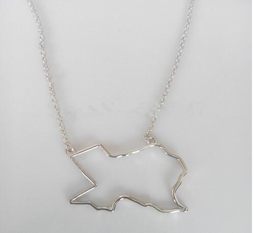 10PCS- N081 States Outline Texas Necklace America Map Necklace Charm USA TX State Necklace Simple Hollow Geography Necklaces