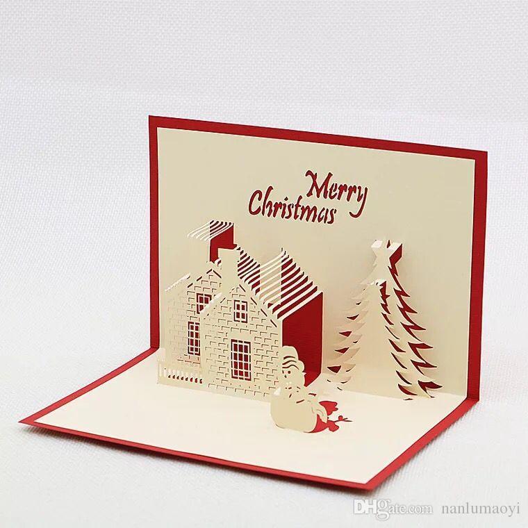 Christmas Cards Handmade.3d Christmas Greeting Cards Handmade Creative Christmas Xmas Party Invitations Greeting Cards Tree Paper Festival Gifts Birthdays Card Birthdays Cards