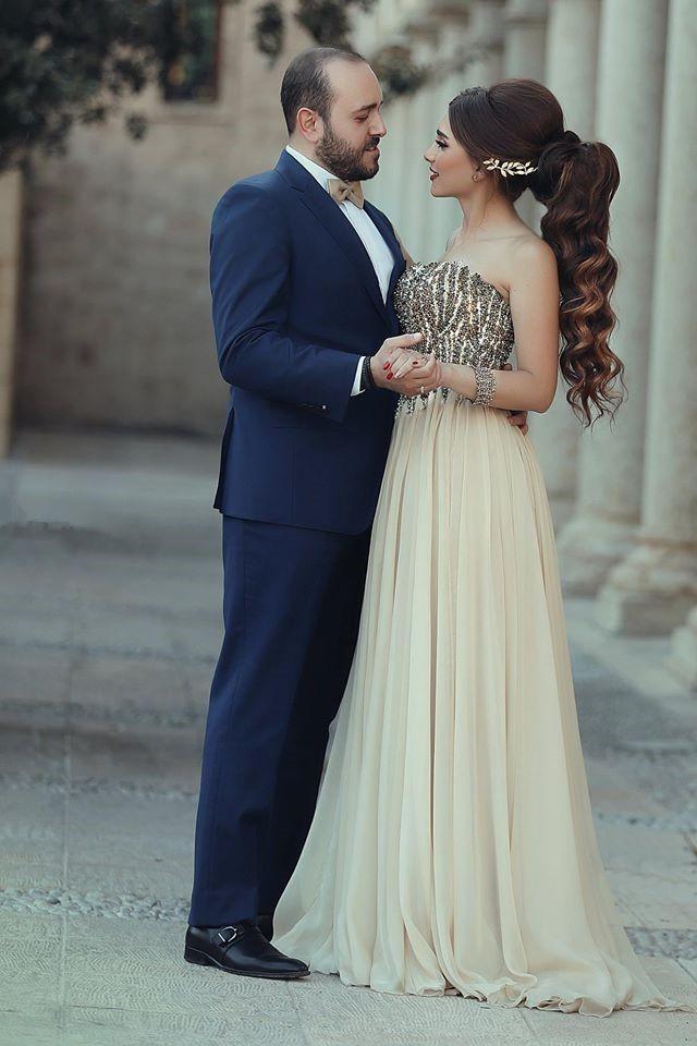 Арабский стиль вечерние платья с крупным бисером линии длиной до пола милая шифон шампанское Пром платье Vestido де феста 2015