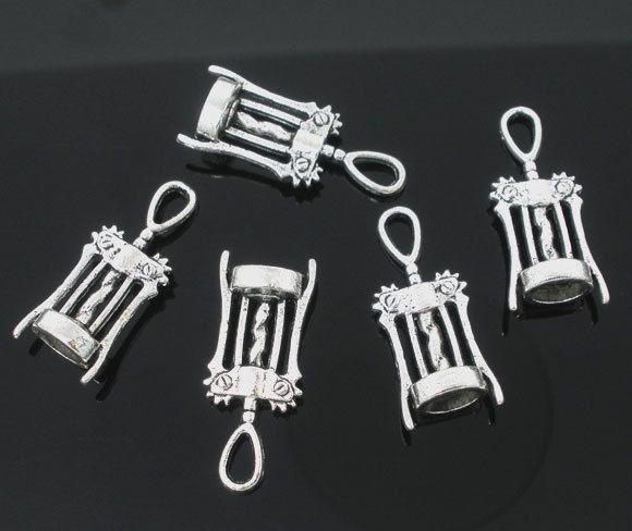 Hurtownia Darmowa Wysyłka 150 sztuk Antique Srebrny Ton Wino Corkscrew Otwieracz Urok Wisiorki 27x11mm Biżuteria Ustalenia Hurtownia