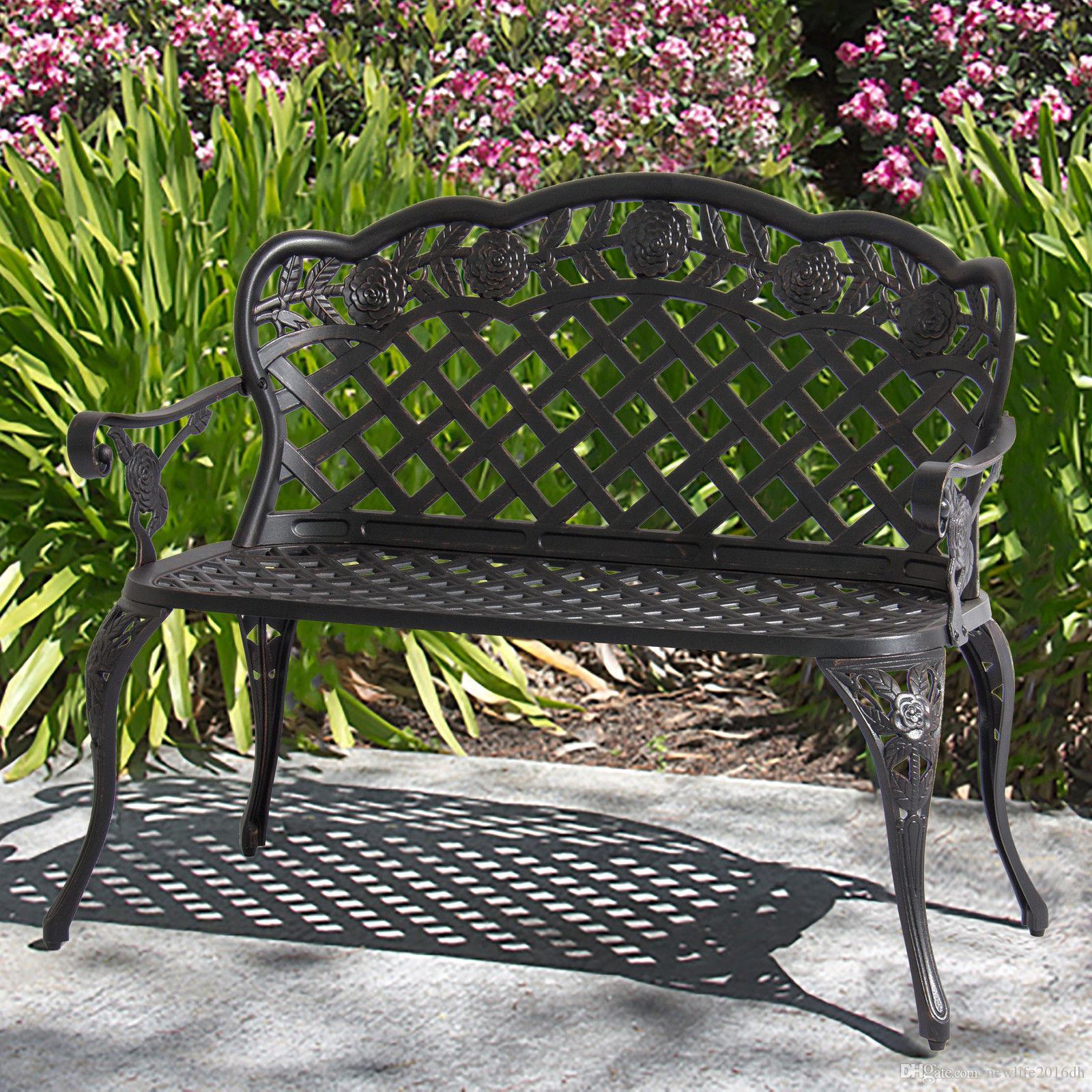 Astounding 2019 Patio Garden Bench Cast Aluminum Outdoor Garden Yard Solid Construction New From Newlife2016Dh 125 63 Dhgate Com Dailytribune Chair Design For Home Dailytribuneorg