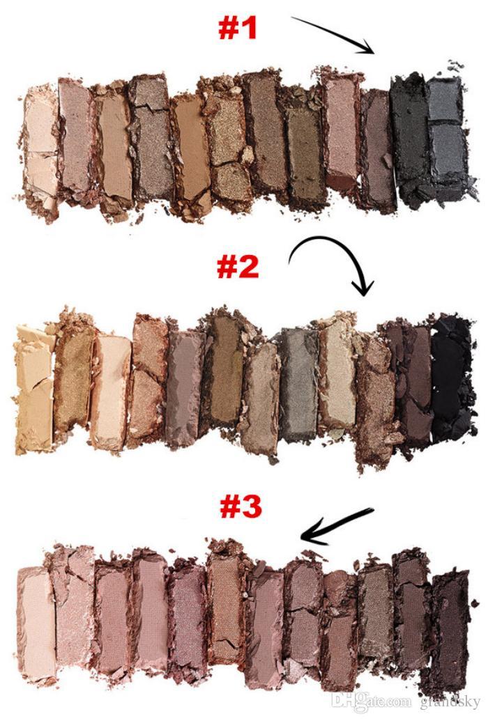 Maquiagem Em Estoque NUDE Paleta De Sombra De Olho Maquiagem Paleta De Sombra (1 2 3) 12 Cores Sombra 3 Versões Caixa De Ferro Com Escovas