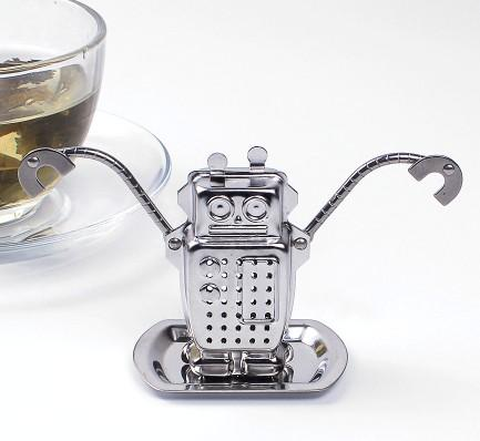 Frete Grátis-200 pc / Lotes-304 Aço Inoxidável Robô Tea Infuser Cup Holder Loose Leaf Tea Brewer Steeper Aço e Bandeja De Gotejamento