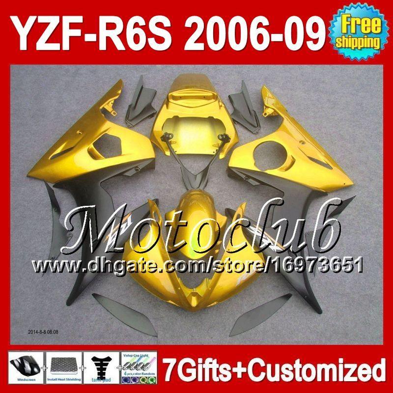 7gifts+ For YAMAHA 06-09 YZF-R6S Gold black YZF600 06 07 08 09 C95217 YZF R6S YZF 600 YZFR6S 2006 2007 2008 2009 Golden black Fairing Kit