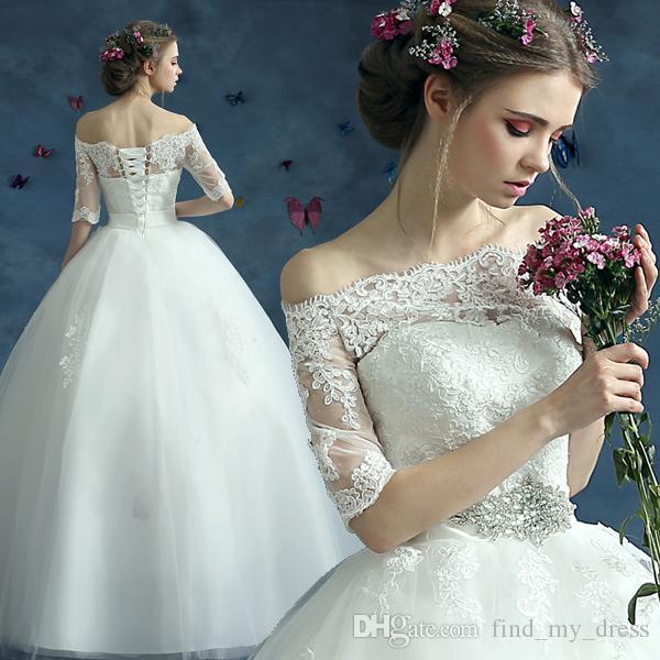 Принцесса бальное платье свадебные платья с половиной рукавов с открытыми плечами кристаллы пояса кружева длиной до пола, свадебные платья зашнуровать назад на заказ W961