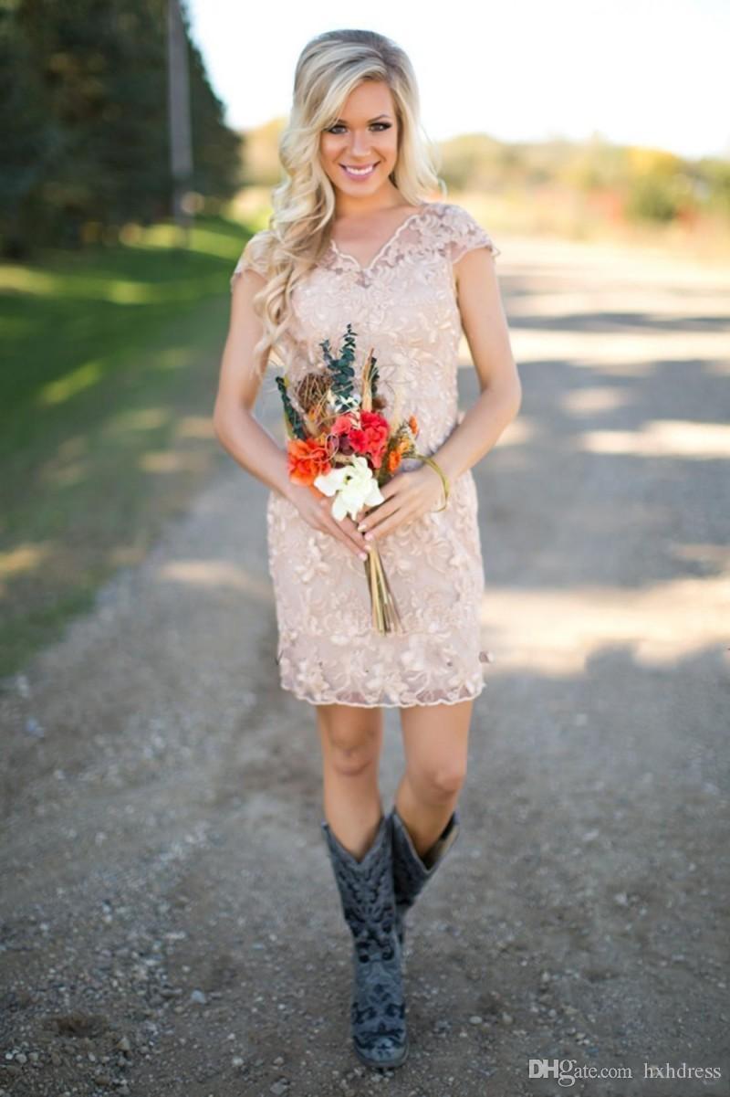 2019 New Country abiti da damigella d'onore con scollo a V maniche corte in pizzo manica champagne guaina abiti da festa da sposa abiti da damigella d'onore abiti 097