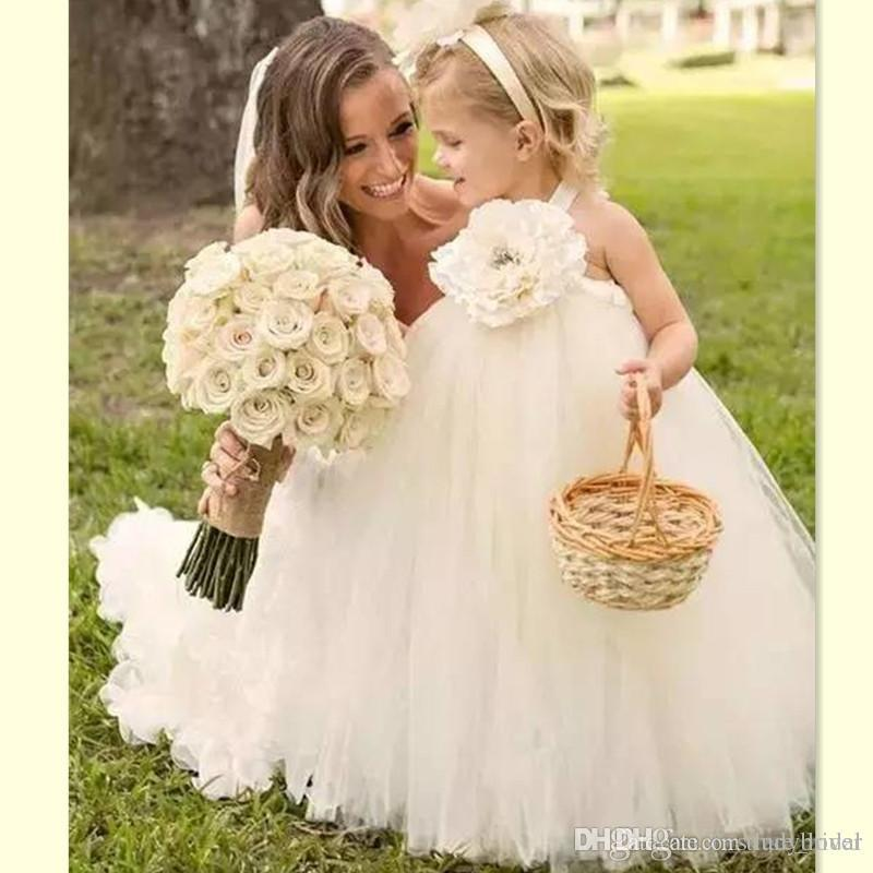 huge discount timeless design On Clearance 2017 Halter White Ball Gown Tulle Flower Girl Dresses Puffy Style Girls  Weddings Party Gowns Cute Baby Dress Plus Size Flower Girl Dresses Princess  ...