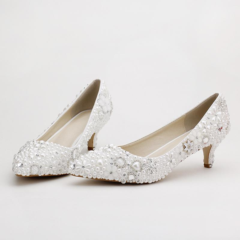 Pointed Toe White Pearl Bridal Shoes Middle Heel Wedding Dress