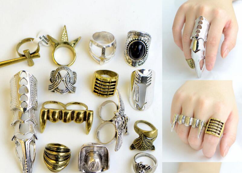 10 unids / lote mezcla tamaño de estilo de cristal anillos de racimo de cristal para bricolaje regalo de joyería artesanía RI53