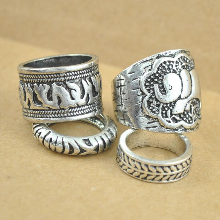40PCS=10sets Vintage Punk Ring Set Unique Carved Antique Silver Elephant Totem Leaf Lucky Rings for Women Boho Beach Jewelry