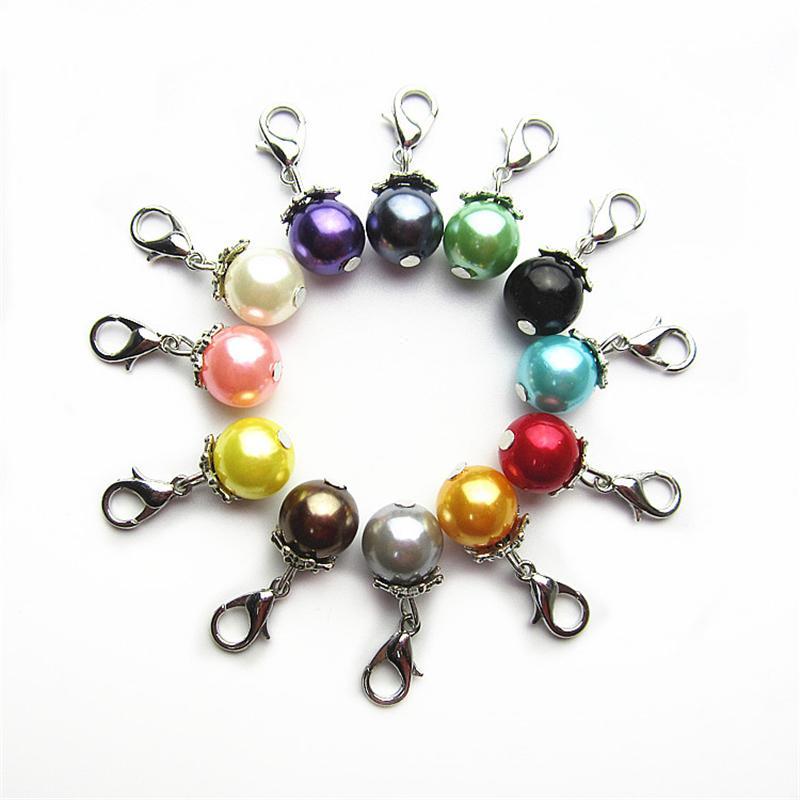 120 pcs Mix 12 Couleur 10mm perles perle charmes Dangle Charmes BRICOLAGE Bracelets Bijoux Accessoire Macroporeux perles Charmes homard fermoir charme