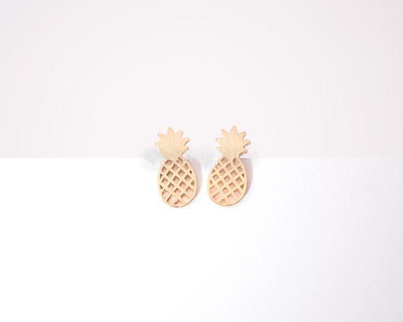 الأقراط الأزياء الأناناس ، وأقراط شخصية الفاكهة أقراط اليد مملة سطح بالجملة شحن مجاني
