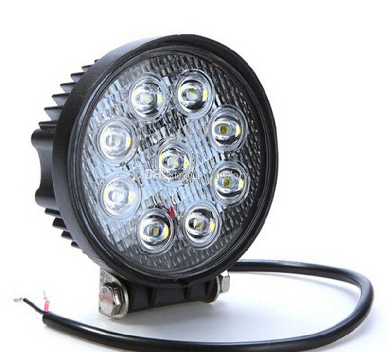 "4pcs Hot Sale 4"" inch white 4x4 SUV Tractor Train Bus Spot/Flood 27W LED Work Light off-road fog working lights bulbs headlights"