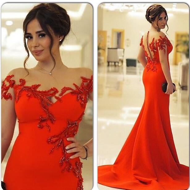 Red Long Mermaid Evening Dresses Sheer Neck Party Dresses Vestidos de festa Sweep train Sexy Long Prom Gowns 2015