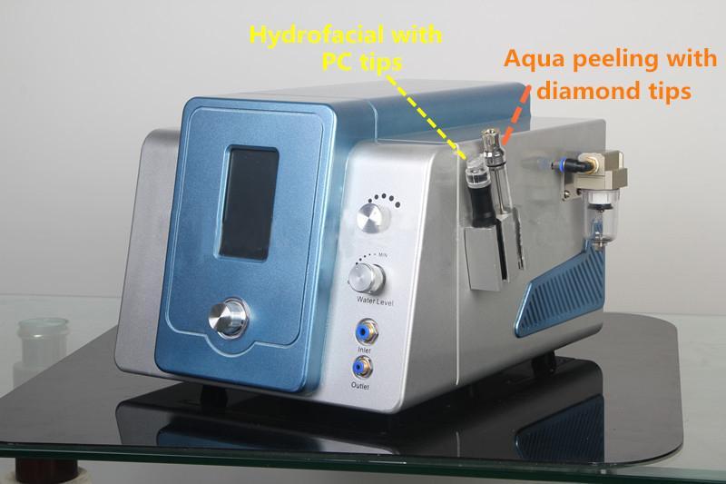 2 in 1 hydro dermabrasion hydra dermabrasion 물 dermabrasion 피부 박리 미세 박피술 기계와 8 Hydra 팁 9 다이아몬드 팁