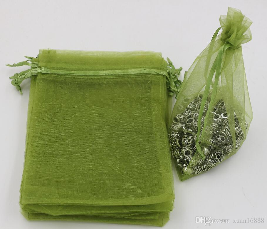 Горячее надувательство! Army Green Органза Ювелирные изделия Подарочные пакеты для свадебных сувениров, бисер, ювелирные изделия 7x9см 9X11см 13 х 18 см и т. Д. (365)