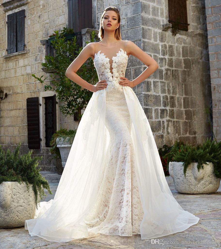 Detachable Wedding Dress.2018 New Champagne Base Ivory Lace Detachable Wedding Dresses Backless Bridal Gowns Sleeveless Appliqued Keyhole Back Mermaid Wedding Gowns Oleg