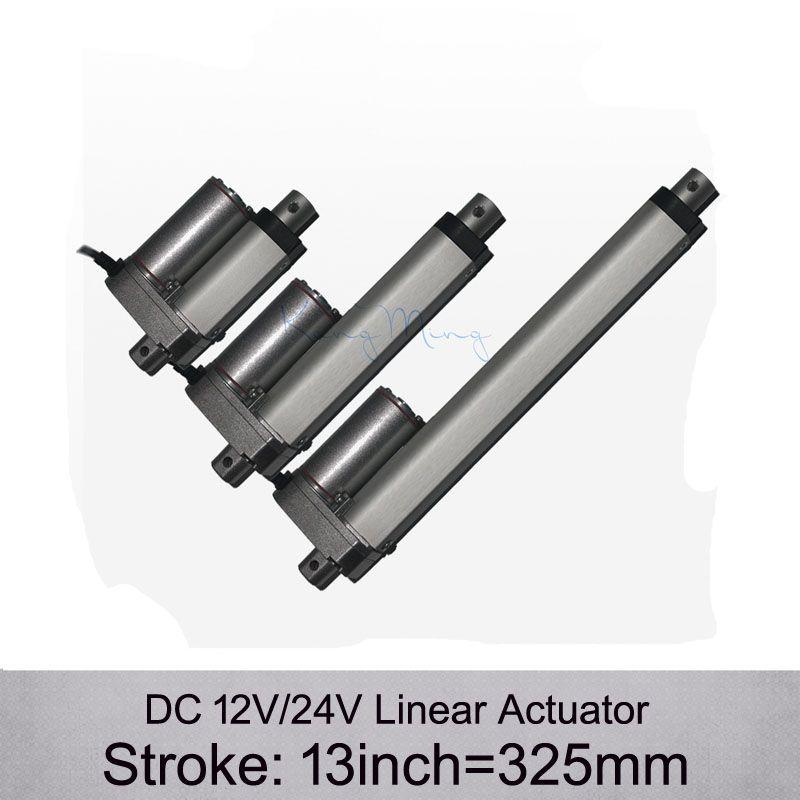 Frete grátis! Atuador linear elétrico da CC 12V / 24V 13inch / 325mm, carga 1000N / 100kgs atuadores lineares da velocidade 10mm / s sem suportes de montagem