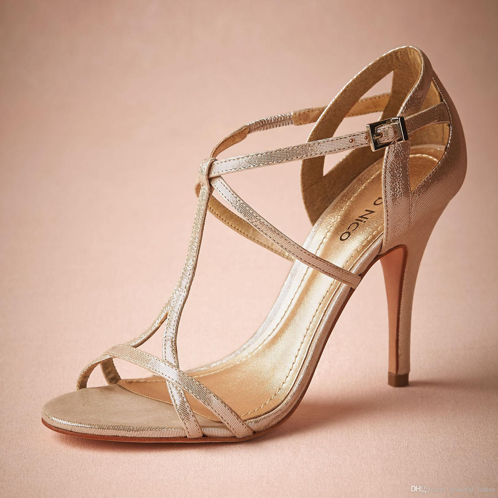 2016 Elegant Champagne Wedding Shoes