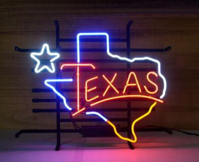 """TEXAS City Logo Neon Sign Light Iconic Sign Map Sign Tourist Sign Real Glass Tuble Sign LED Neon Sign 17""""X14"""""""