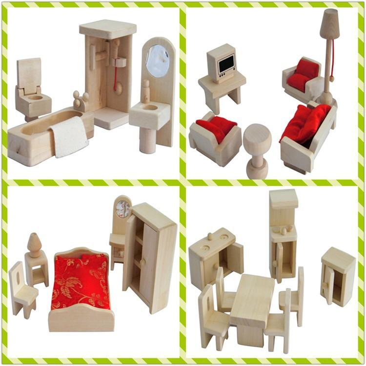 2018 Mini Wood Simulation Dollshouse Kitchen Bedroom Bathroom Lounge Furniture Sets Toy Wooden Bed Sofa Desk Play House Toys Kids Gift From C901120