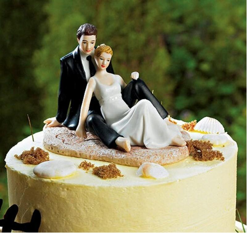 Beach Wedding Couples Cake Toppers Casual Bride And Bridegroom Romantic Wedding Decoration Newest Hot Sale