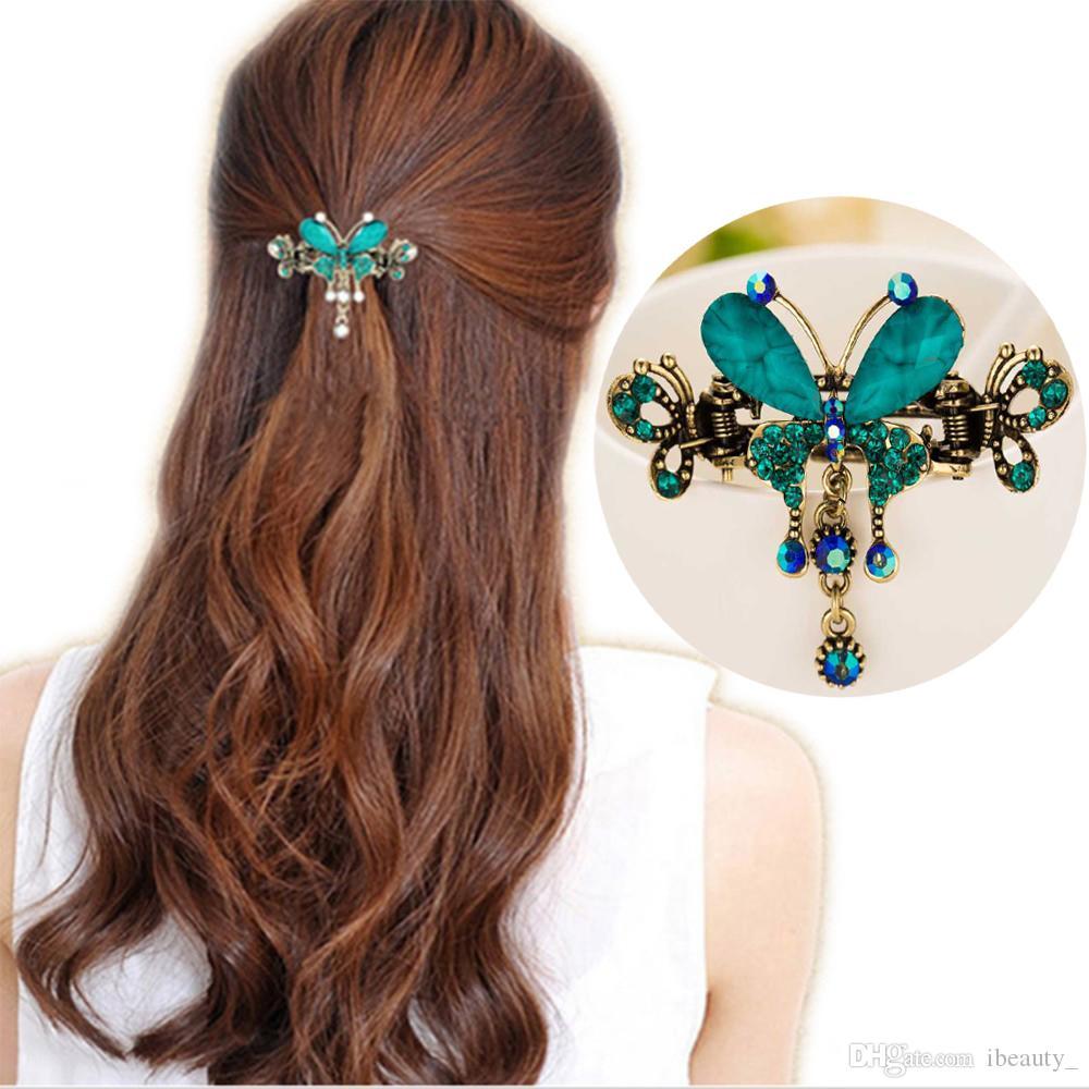 New Vintage Women Elegante gemma Farfalla Fiore Forcine Capelli Barrette Clip Cristallo Farfalla Fiocco Capelli Clip di capelli