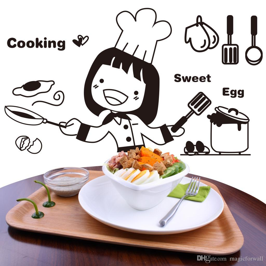 Pretty Girl Cooking Wall Art Mural Decor Sticker Kitchen Cabinet Decoration Sticker Funny And Creative Kitchen