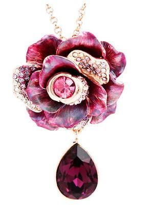 3 color diamodn drop flower pendant(4.3*3.6cm) lady's necklace 42+extra 3cm) (400-cn)