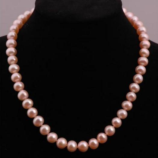 8-9 мм розовый натуральный жемчуг ожерелье 18 дюймов 925 Застежка