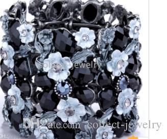 Bracelet fleur vintage en cristal de swarovski noir