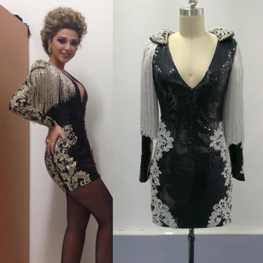 Myriam Faes inspirerade kändis lilla svarta klänningar Real Images Långärmade paljetter Party Dresdes med Lace Appliques
