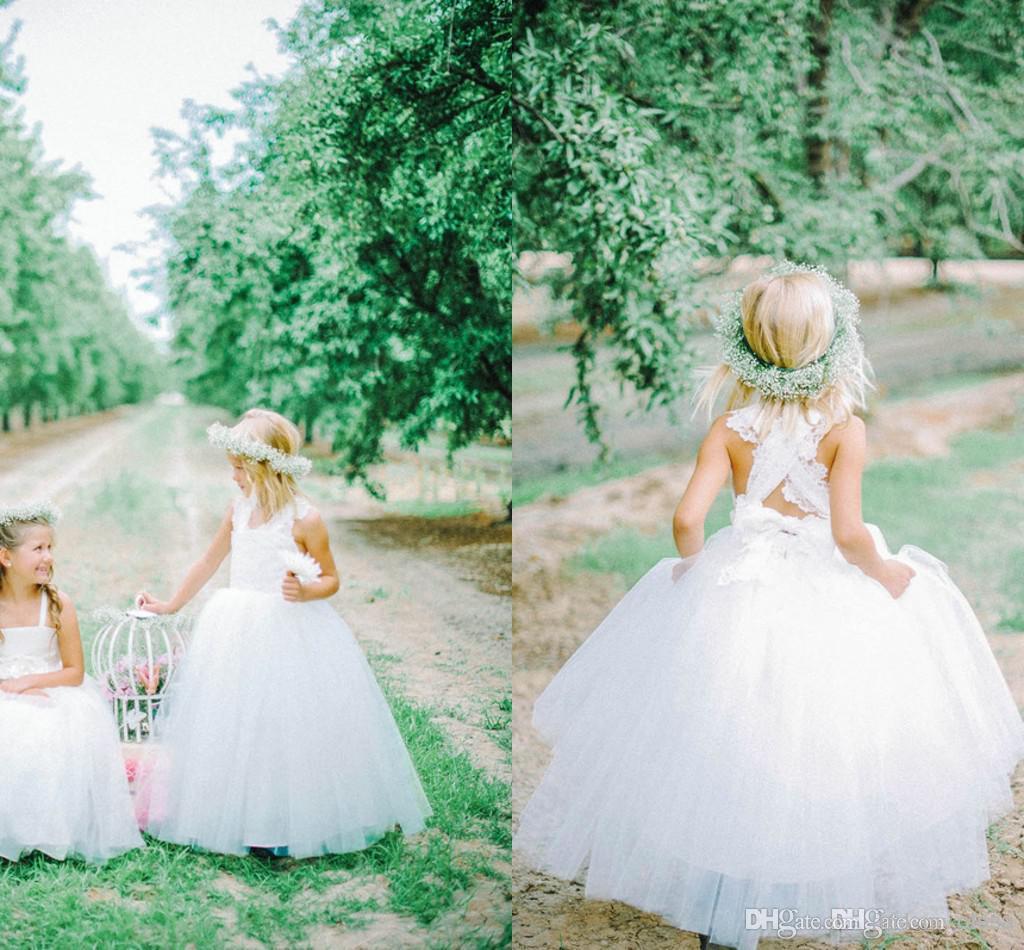 New Lovely White Tulle Flower Girl Dresses Cross Straps Voltar Flores vestido de Baile Até O Chão Meninas Pageant Vestidos Custom Made G31