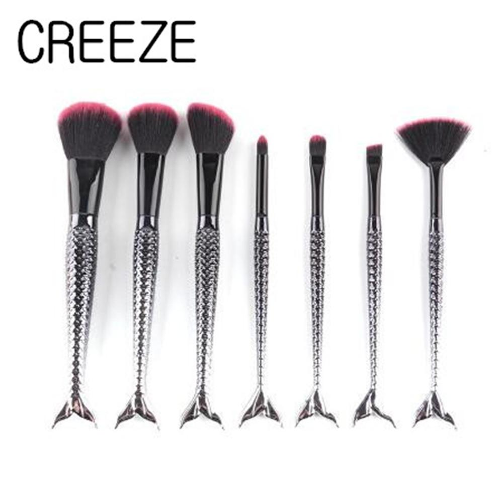 Eye Shadow Fan Brush Creeze New Black 7pcs Mermaid Makeup Brush Sets Red Wool Fiber Plastic Handle Foundation Blush Lip