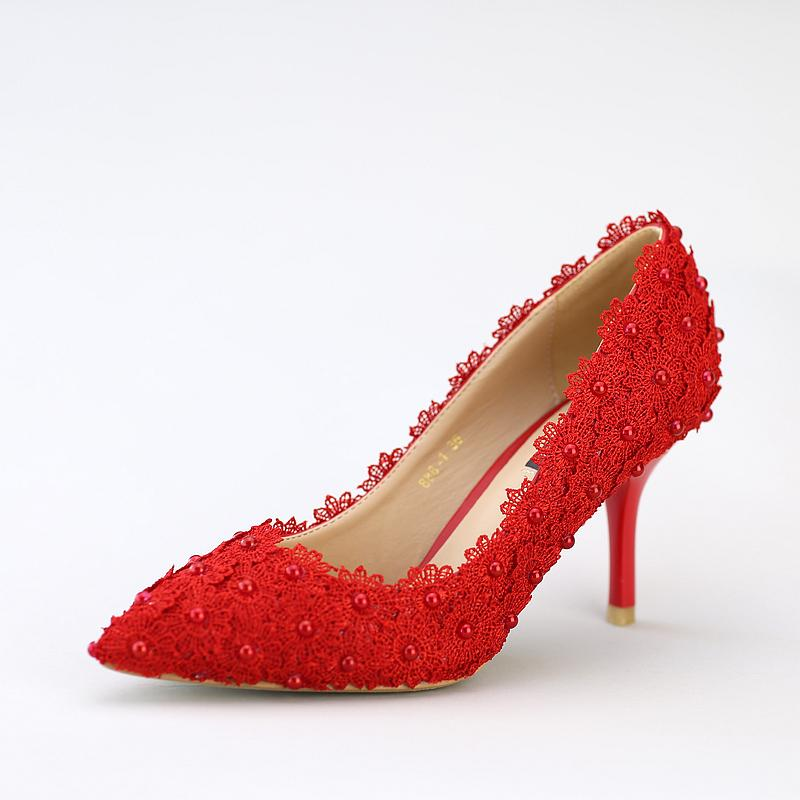 Lace Flower Applique Shoes Beautiful Red Lace Wedding Shoes Middle Heel Pearl Bridal Shoes Pointed Toe Satin Dinner Party Shoes
