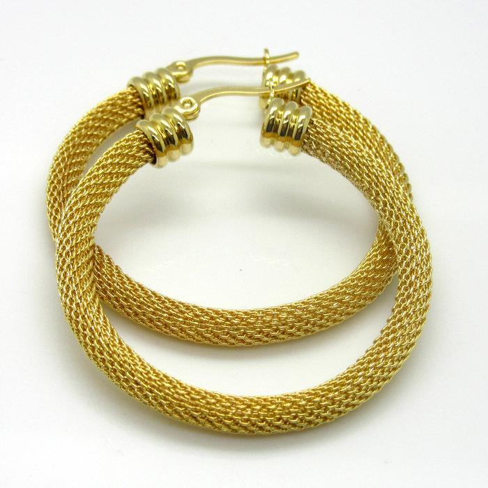 Nuovo stile di moda di arrivo 30mm / 40mm / 50mm oro placcato in acciaio inox Twist Wire maglia rotonda orecchini cerchio migliore regalo per le donne