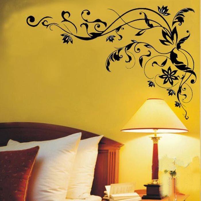 블랙 꽃 포도 나무 벽 스티커 꽃 덩굴 이동식 나비 벽 스티커 데칼 예술 데칼 장식 스티커 DIY 홈 장식 pegatinas