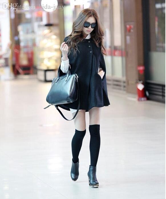 Toptan-Kore Kadınlar Bayanlar Batwing Yün Boy Casual Panço Kış Ceket Ceket Gevşek Pelerin Pelerin Dış Giyim Siyah Büyük Boy S-X L H0876