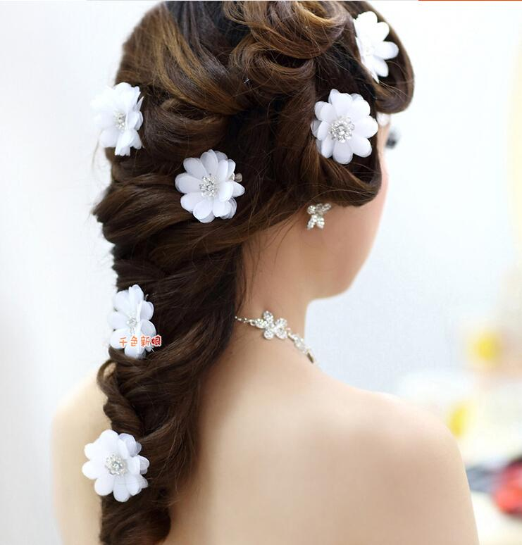 White flowers with crystal rhinestone bridal clip pin long hair short description mightylinksfo