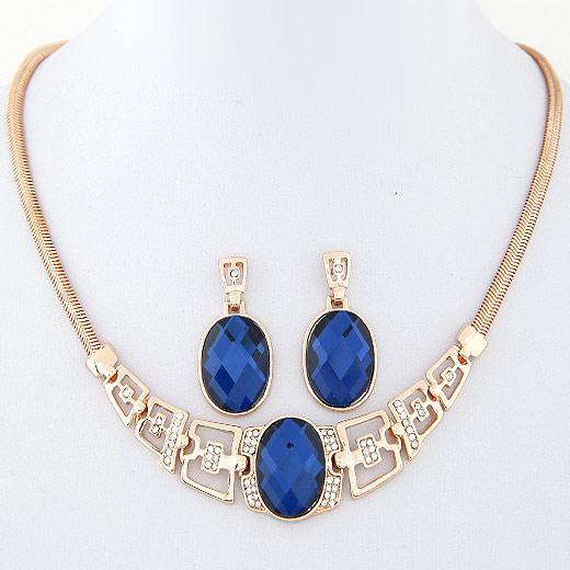 2015 mode gold und silber überzogene halskette / ohrring schmuck sets frauen kleidung zubehör hohe qualität